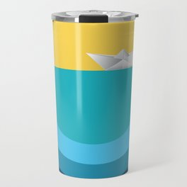 Paper boat in the sea Travel Mug