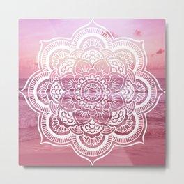 Water Mandala Pink Metal Print