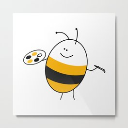 Bee the Painter Metal Print
