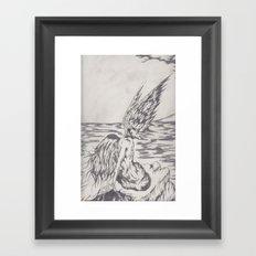 angel on rocks Framed Art Print