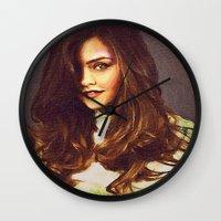 jenna kutcher Wall Clocks featuring Dedication Artwork: Jenna Coleman (1 of 2) by InnerSymbiance