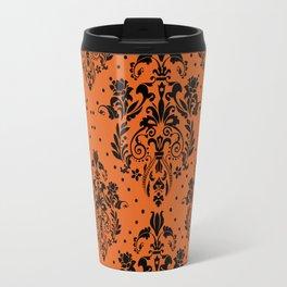 Vintage black orange halloween floral damask Travel Mug