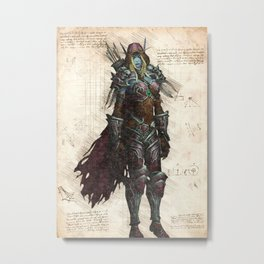 Sylvanas Windrunner Dark Lady night elf rougue sketch Metal Print