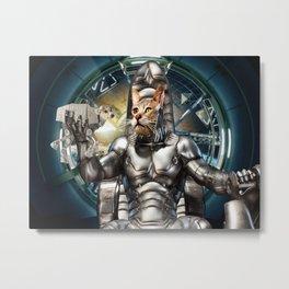 Robot Space Cat Metal Print