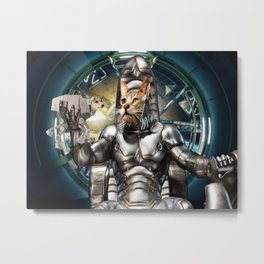 Robot Space Cat Metal Print