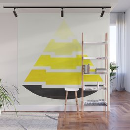 Minimalist Abstract Aztec Pyramid Geometric Pattern Yellow Watercolor Painting Wall Mural