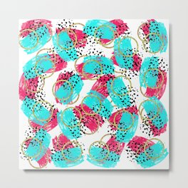 Abstract Aqua Blue Pink and Faux Gold Brushstrokes Metal Print
