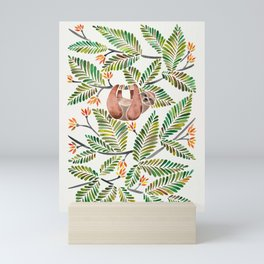Happy Sloth – Tropical Green Rainforest Mini Art Print