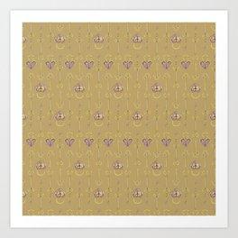 Purple and gold keys and padlocks antique style pattern Art Print