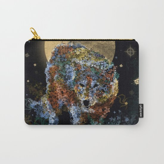 floral animals wolf and stars Carry-All Pouch
