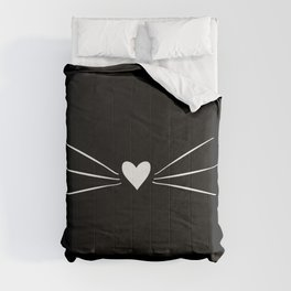 Cat Heart Nose & Whiskers White on Black Comforters