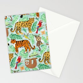Wild And Wonderful Jungle Friends - Mint Green Background Stationery Cards