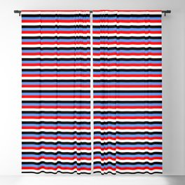 Eyecatching Cornflower Blue, Red, White, and Black Striped Pattern Blackout Curtain