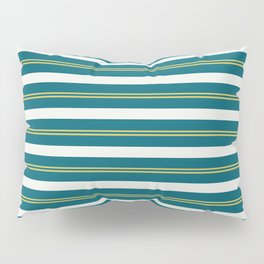 Off White, Dark Yellow and Tropical Dark Teal Inspired by Sherwin Williams 2020 Trending Color Oceanside SW6496 Stripes Thick and Thin Horizontal Line Pattern 2 Pillow Sham