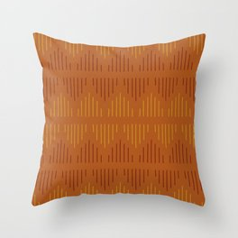 Minimalist Mudcloth 3 in Rust with Burgundy and Mustard Throw Pillow