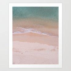 Waves on a deserted beach Art Print