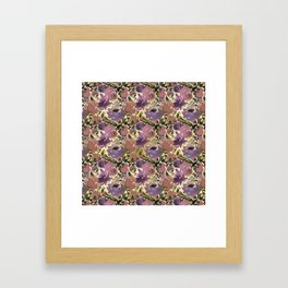 Botanical lavender purple ivory brown floral Framed Art Print