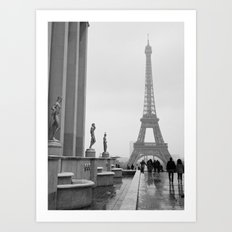 Eiffel Tower on a Snowy Day Art Print