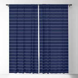 Navy Blue Pinstripes Lines Minimal Blackout Curtain
