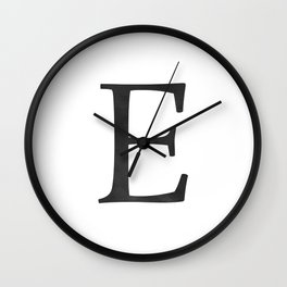 Letter E Initial Monogram Black and White Wall Clock