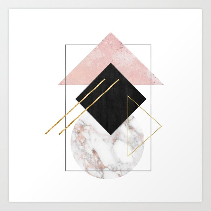 Rose Marble Triangle Art Geometry Wall Decor Polygonal Modern Minimalist Abstract Shapes Print By Gardenofdelights