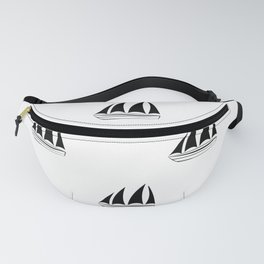 Black Sailboat Pattern Fanny Pack