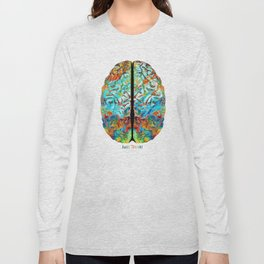 Colorful Brain Art - Just Think - By Sharon Cummings Long Sleeve T-shirt