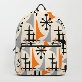 Mid Century Modern Atomic Wing Composition Orange & Gray Backpack