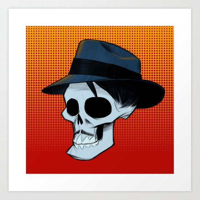 8a8dfb86a Ricky Fedora Skull in Color Art Print