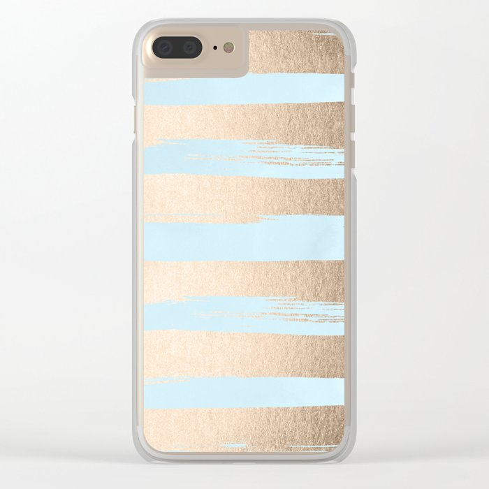 Paint Stripes Gold Tropical Ocean Sea Turquoise Clear iPhone Case
