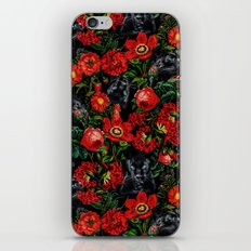 Panther and Floral Pattern XO iPhone Skin
