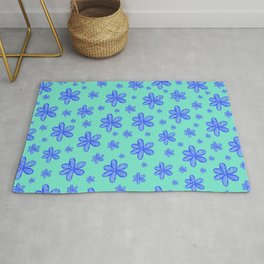 navy blue girly flowers on cyan blue background patter graphic design Rug