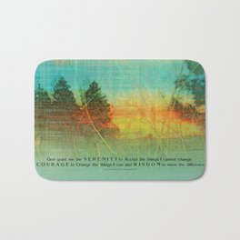 Serenity Prayer Colorful Trees Bath Mat
