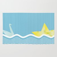 origami Area & Throw Rugs featuring Origami summer by Oh! My darlink
