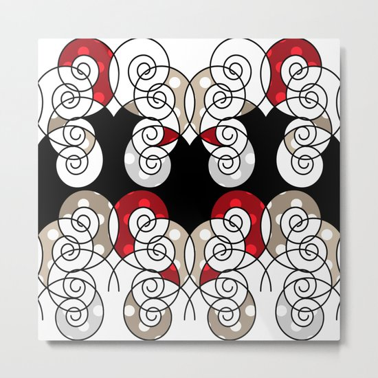 Abstraction . Black red spiral. Metal Print