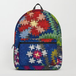 Starry Floral Felted Wool, Blue Backpack
