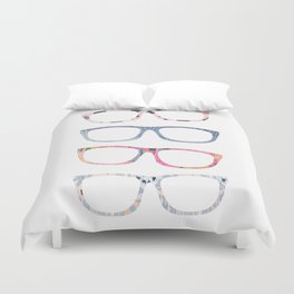 Bespectacled // Watercolor Glasses Print Duvet Cover