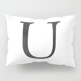 Letter U Initial Monogram Black and White Pillow Sham