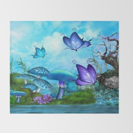 Mystic Whimsey Butterfly Pond Fantasy Throw Blanket