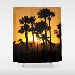 Palm Tree Hill Sunset Shower Curtain