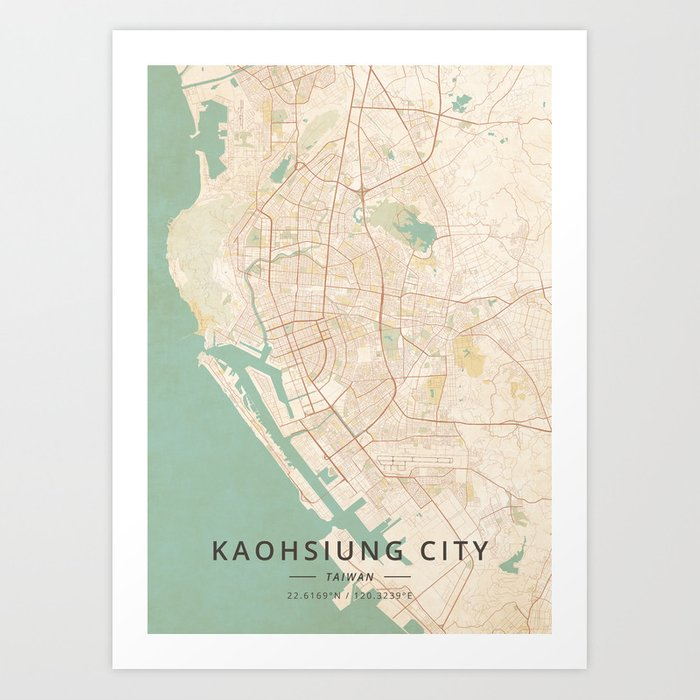 Kaohsiung City, Taiwan - Vintage Map Kunstdrucke