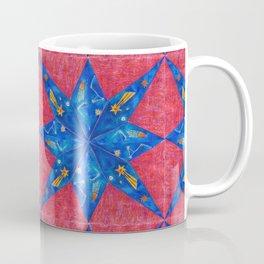 stelle blu su fondo rosso Coffee Mug