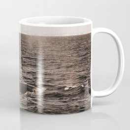 Two Vintage Retro Sepia Toned Rustic Blue Whale, Fin Whale Swimming Part 1 Coffee Mug