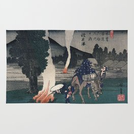 Hiroshige Travellers lighting their pipes by a fire Rug