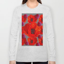 SUCCULENT PURPLE RASPBERRIES & ORANGE POPPIES ABSTRACT Long Sleeve T-shirt