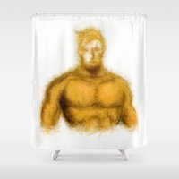 aquaman Shower Curtains featuring Aquaman by KitschyPopShop
