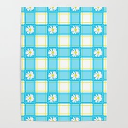 Daisies on Blue Plaid Poster