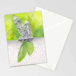 Green Cicada / Mushroom Watercolor Painting Stationery Cards