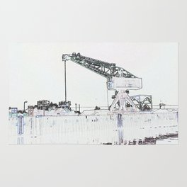 Canal Port Crane Drawing Rug