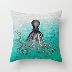 Antique Nautical Steampunk Octopus Vintage Kraken sea monster ombre turquoise blue pastel watercolor Throw Pillow